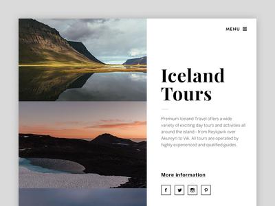 Iceland Travel Website – Teaser splash page typography webdesign ui gallery landing page teaser website iceland