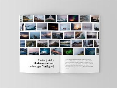 Photography Portfolio / Magazine grid layout text typography norway iceland editorial print design portfolio magazine photography