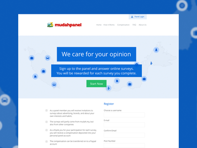 Mudah Panel Website blue white web-design web-development content management system typography color-pallete responsive
