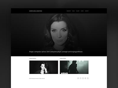Andrijana music-studio musician music ui-ux web-development web-design white black
