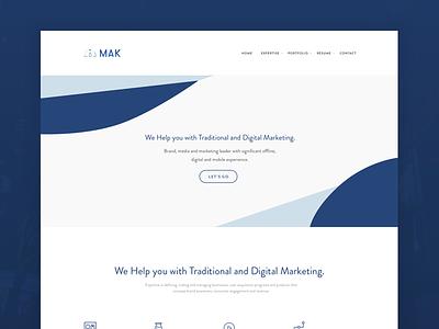 MAK web-development web-design ui-ux white blue