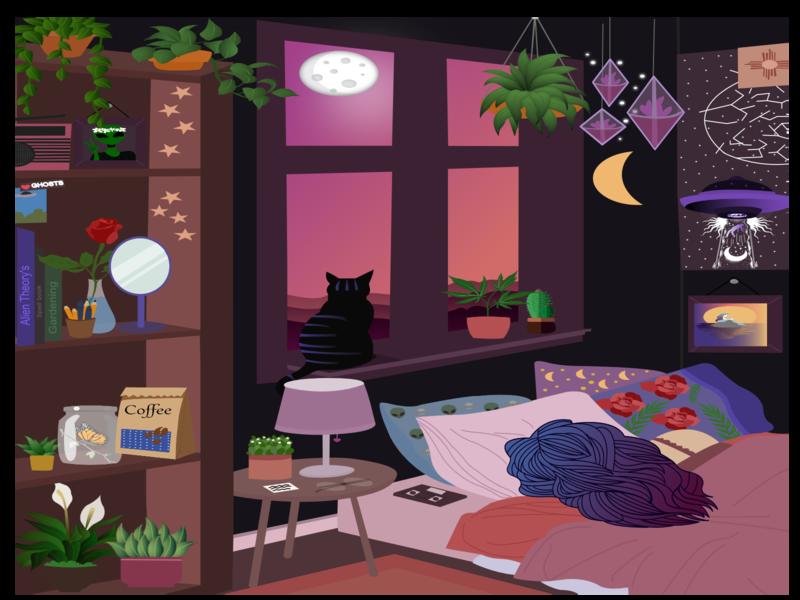 Chloe's Bedroom glasses stars coffee weed kitty illustration cat poster design sunset girl illustration ghosts alien radio plant illustration bedroom design illustration design artwork artist art affinity designer