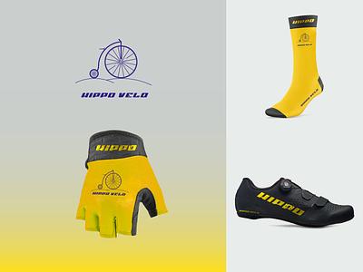 Hippo Velo Branding penny farting bike bicycle logo typography branding vector illustration graphic design design