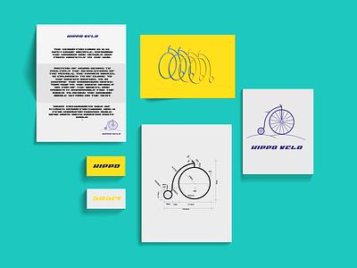 Hippo Velo Branding penny farting bike bicycle logo letter typography branding vector illustration graphic design design
