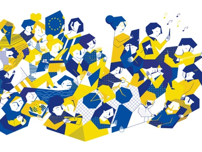 What does it mean to be a European? bruxelles brussels concept identity european union design colorful design illustration character design geometric illustration