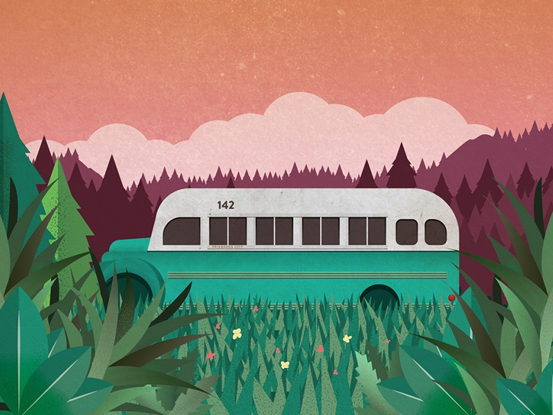 Into the Wild retro sunset bus mccandless chris wild the into vector illustration