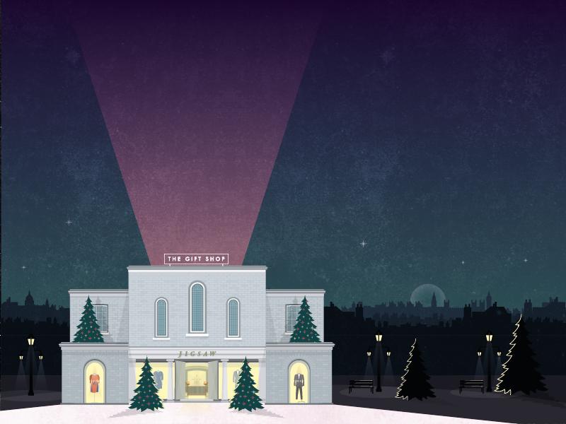The Gift Shop christmas evening skyline chelsea london building facade vector illustration