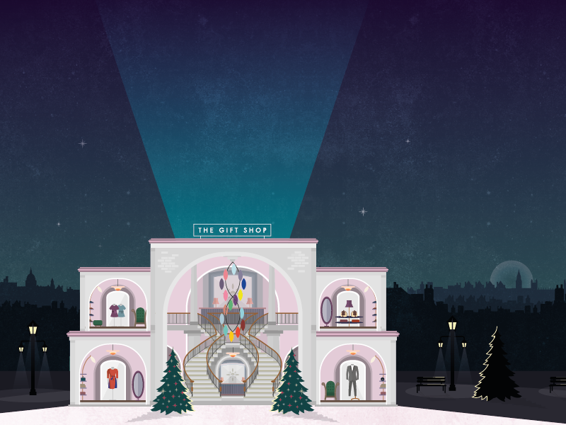 The Gift Shop: Interior christmas evening skyline chelsea london building facade vector illustration
