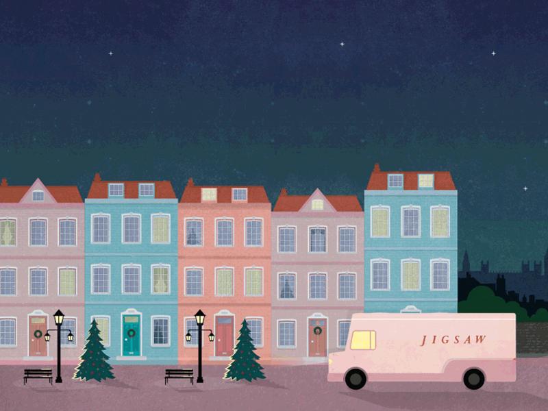 Jigsaw Streetscape christmas buildings facade street townhouse britain london england houses illustration vector jigsaw