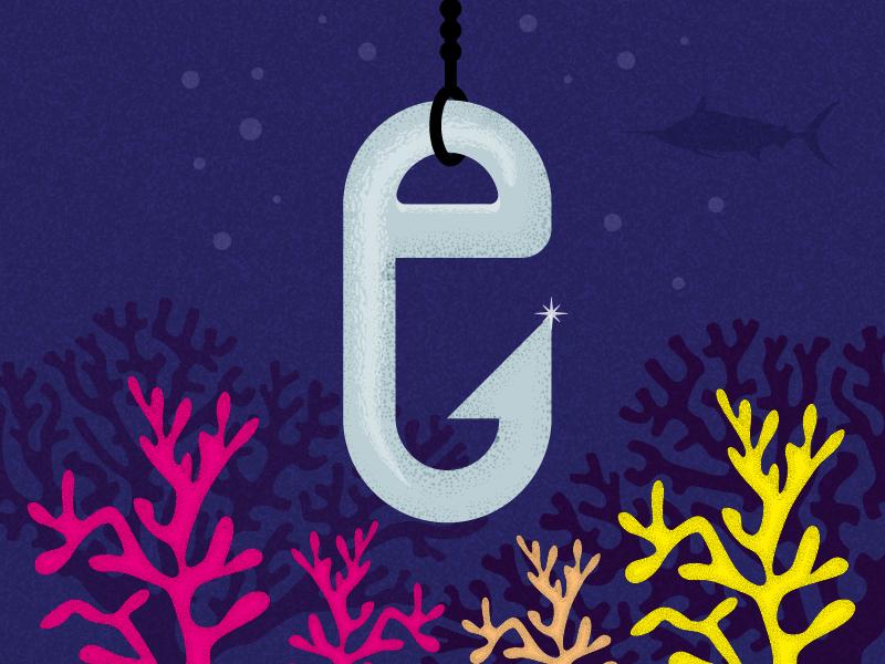 36 Days of Type: E illustration e type underwater coral hook fishing hemingway ernest 36days04 36days-e 36daysoftype