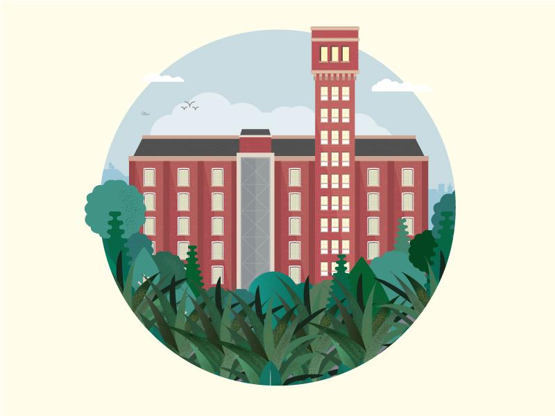Bow Quarter facade brick tower circle illustration vector building london bow