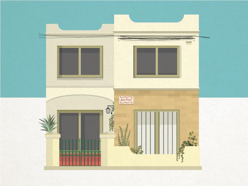 San Pawl home mediterranean malta stone building facade architecture vector illustration house