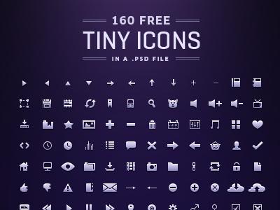 160 tiny Icons [Free PSD] icons free psd pack 12px ui tiny small