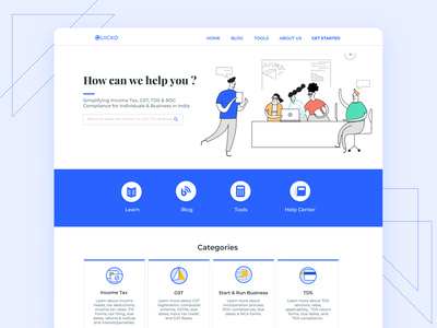 Learn by Quicko - Landing Page help center start up landingpage learn illustraion fintech finance tax landing page web design ui taxes