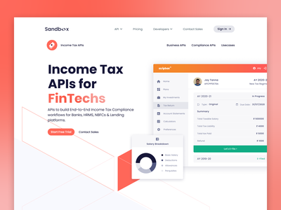 Sandbox | Income Tax Page webdesign uiuxdesign uiux ui fintech branding scripbox landing page landingpage landing gradient tax api