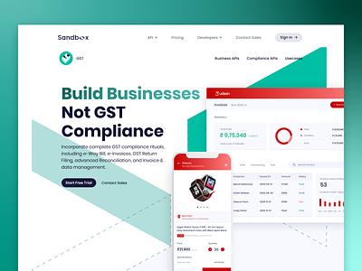 Sandbox | GST product invoice bill taxes web design tax uiux website design web udaan gradient api branding fintech ui