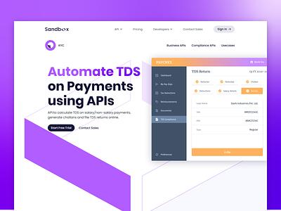 Sandbox | TDS Page hrms paycheck sandbox tds payment payments api accounting web design landing page fintech