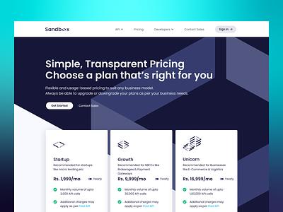 Pricing Page | Sandbox sandbox startup api pricing plans plans pricing plan pricing page pricing web web design fintech