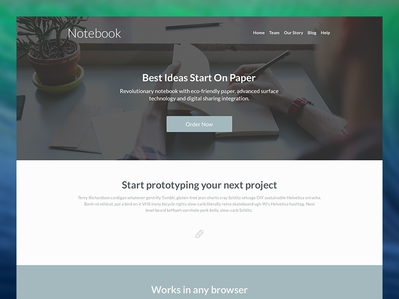 Notebook – Free Landing Page PSD Template web design free psd template landing page