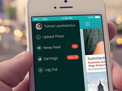 Refe Menu Opened refe ios mobile ui app menu navigation