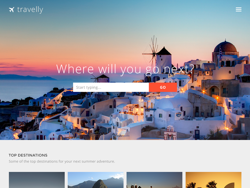 Travelly – Free Travel Website PSD Template travel website web design free template psd