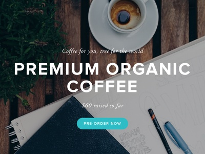 Coffee for Air coffee landing page web design