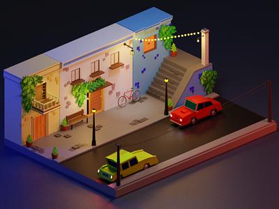 A beautiful scene. romanklco lights illustrator illustration alley city car night lowpoly render 3dblender art blender 3d