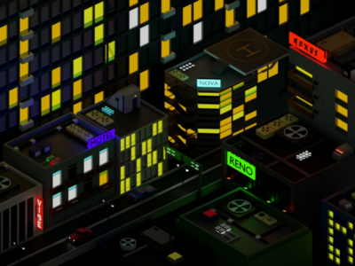 City - night blender2.83 colours isometric lowpoly conceptart concept romanklco blender3d art lights city render blender 3d