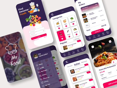 Mr Food Delivery App protein calories shop eat android pay menu chef logo delivery corona italian mobile app food persian figma design ux ui
