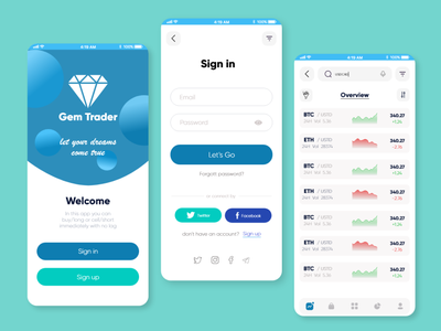 Trading App gem filter search adobe xd btc log in sign up sign in bourse ux ui mobile trading app