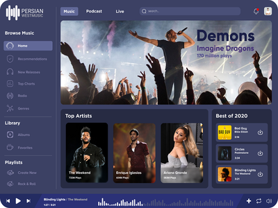 Web Music dark volume bars figma genres live podcast enrique ariana grande download radio playlist singer song play album web design ux ui music