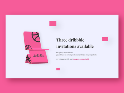 Three dribbble invitations available new member draft invitations invite invitation invites uxdesign design blog commerce website landing page web design ux minimal ui