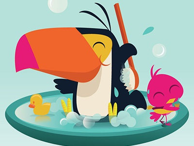 Toucan In The Tub childrens art cartoon editorial art illustration bright colorful