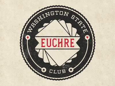 Euchre Club Dribbble logo 19th century custom lettering typography seal seattle washington euchre club card game suits cards