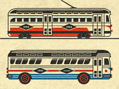 Streetcar with bus dribbble