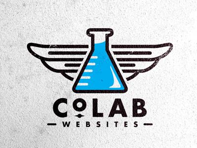 CoLab Logo logo mark beaker wings typography