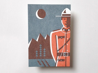 Mountie - Greetings from Canada canada illustration letterpress print canadian
