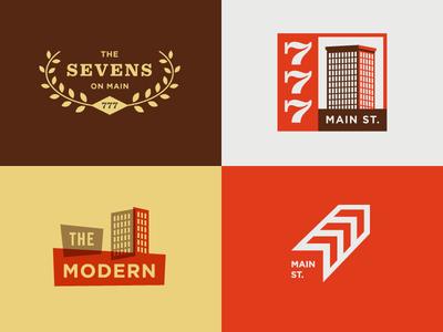 777 Main St. logo concepts exploration building mcm mid century modern