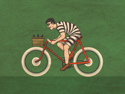 Robber Cyclist illustration human character bicycle beer bottles whitewall white tires orange green