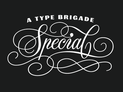 Type Brigade Special lettering custom logotype logo identity spencerian