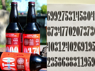 Defacto craft beer bottle beverage no-li series screen printed packaging type design custom type design numerals beer