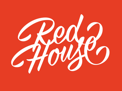 Red House brush script pomade lettering