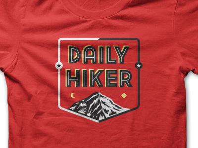 Daily Hiker T-Shirt shirt print garment t-shirt tee red polyester mountain inline custom type lettering illustration