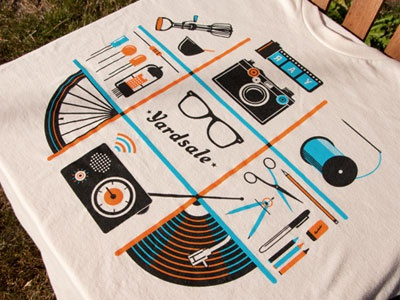Yardsale Shirt t-shirt apparel illustration orange blue radio camera film sewing thread food electronics art vinyl