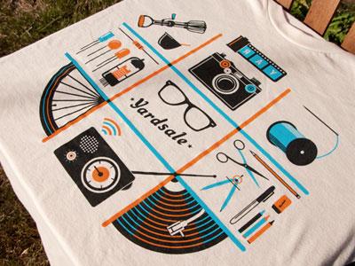 Yardsale Shirt t-shirt apparel illustration orange blue radio camera film sewing thread food electronics art vinyl
