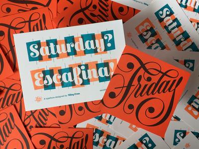 Cards risograph lettering specimen typeface print