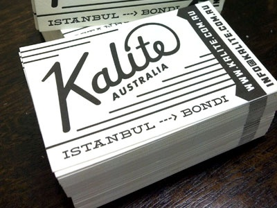 Kalite Business Cards business card collateral letterpress black white australia istanbul bondi