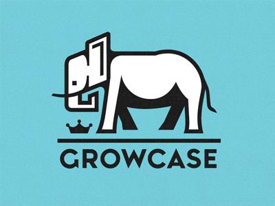 Growcase logo elephant crown emir logotype custom lettering