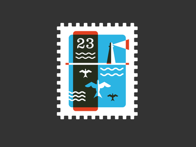 Stamp illustration stamp postage stamp geometric overlay lighthouse seagull