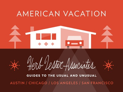 American Vacation illustration house mid century modern american vacation travel map label